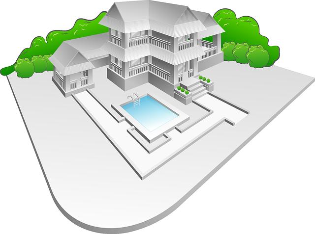 návrh, domu, keře, bazén