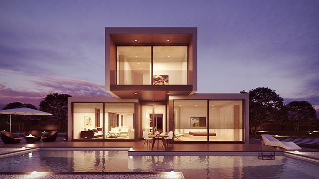 moderní dům, bazén